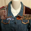 FREE SHIPPING Unique Denim Jacket embellished patchwork MULTI TEXTURE boho hippie velvet tapestry 14