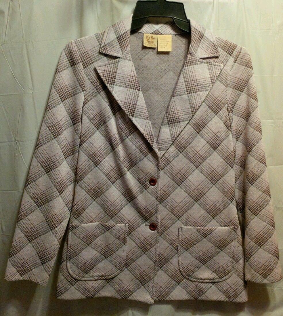 FREE SHIPPING vintage Pink Plaid Polyester Blazer Jacket w/ pockets KO KO KNITS retro size 8