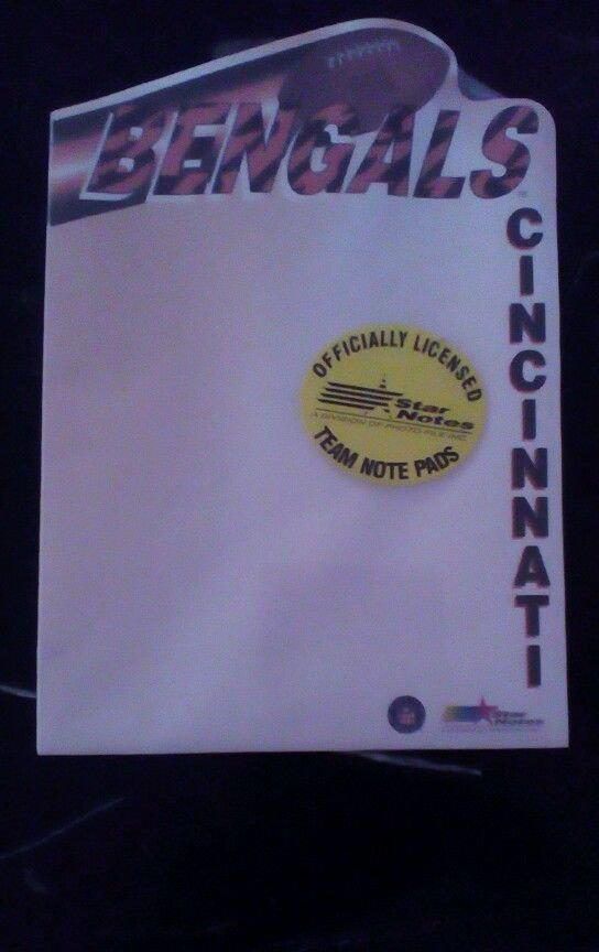 Cincinnati Bengals NFL Notepad Officially Licensed Football Team note NEW NOS