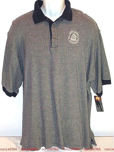 FREE SHIPPING Dedicated to GOVERNMENT golf polo Shirt blue houndstooth sport casual mens XL