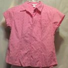 FREE SHIPPING Pink Cotton Eyelet Top short cap sleeves button front shirt girls 10/12 L Large