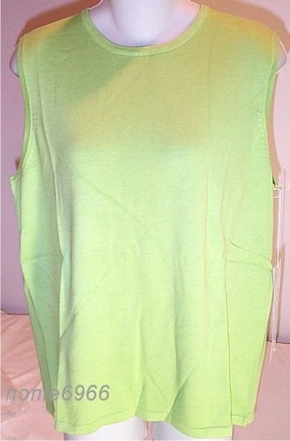 Diane Gilman TOP sweater SHELL viscose GREEN nwt NEW S Small
