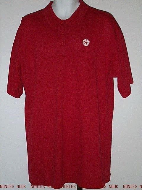CHRYSLER LOGO WORK SHIRT red polo golf auto shop uniform top LOT OF 2 mens XL