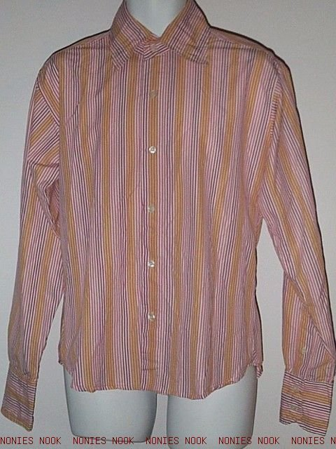 FREE SHIPPING OFFICE DRESS SHIRT long sleeve STRIPED white pink mauve cotton SLIM Poison Large