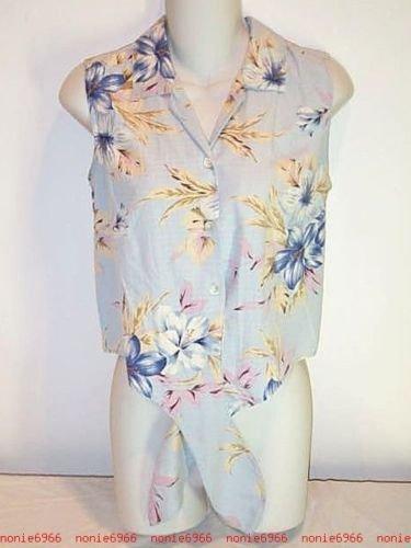 Blue Floral SILK crop top Tie Front short shirt Silks by Bill Blass S small