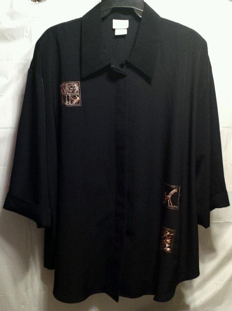 Long Black Top GIRAFFE Jungle Animal Print embroidered SHIRT plus 34w silky flow