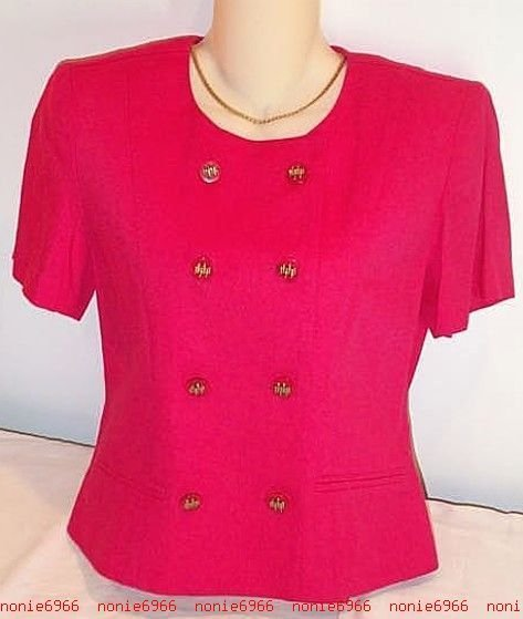FREE SHIPPING Bright PINK Jacket double breasted suit coat top Jennifer Jeffries 6 rayon linen