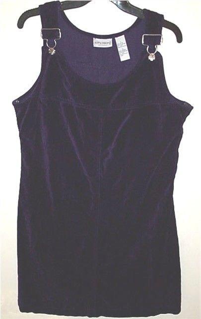 DARK PURPLE Jumper Dress velvet cotton overall style Kathy Ireland Sport L Large