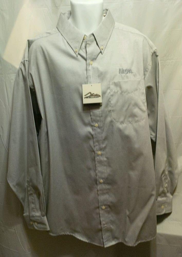 FREE SHIPPING HOBART BROTHERS Mens Button Down Shirt long sleeve AIRGAS logo gray new NWT XL