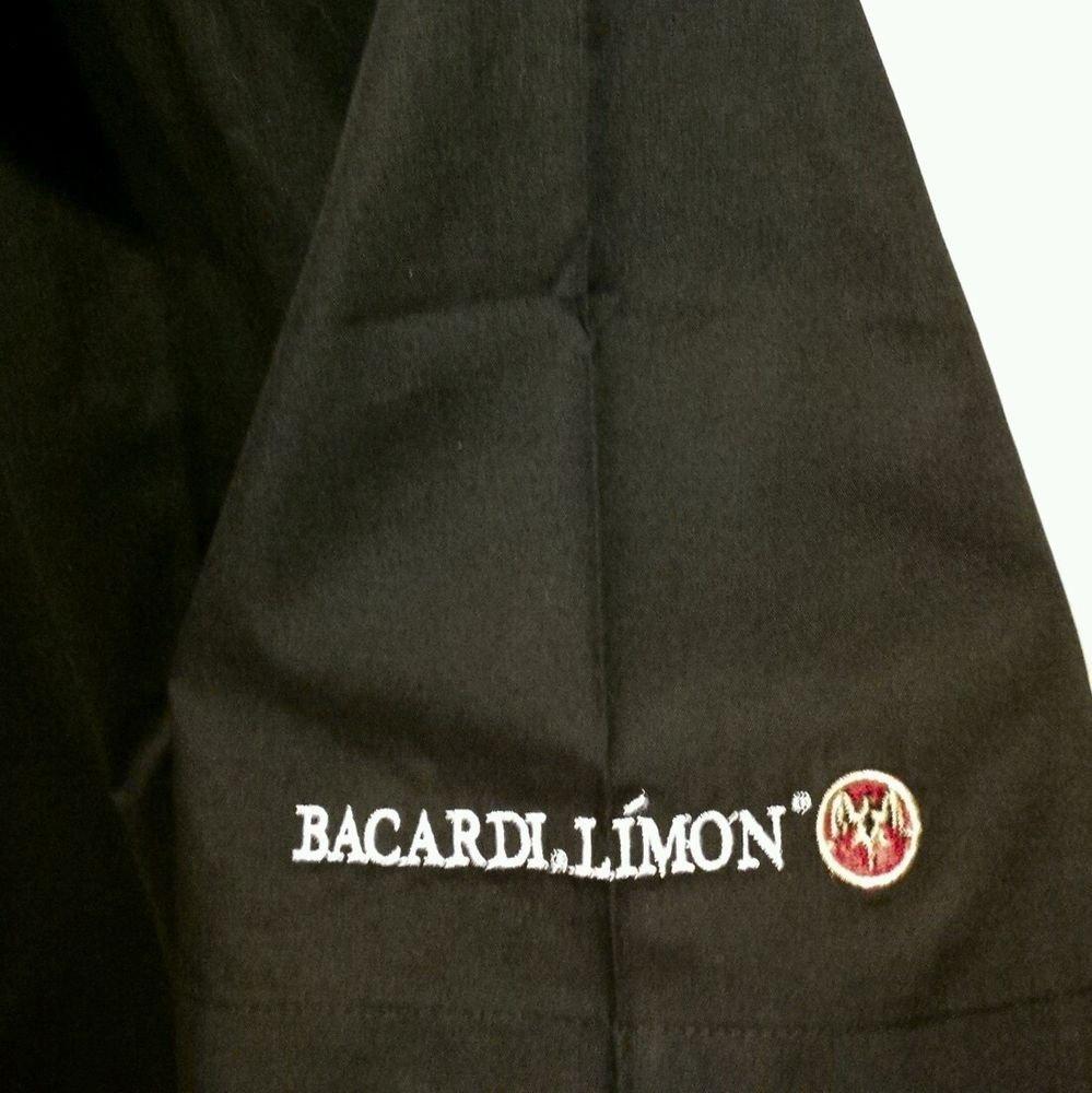 FREE SHIPPING Bacardi Limon Shirt bartender bar club server BLACK embroidered New Medium M