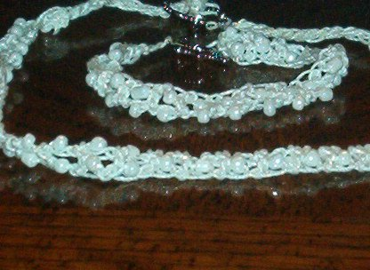 White on White Double Strand Necklace & Bracelet Set