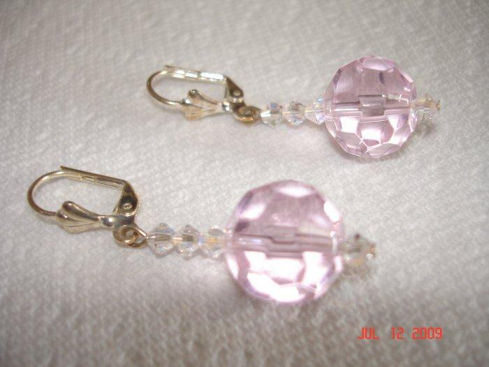 Baby pink and Swarovski crystal earings