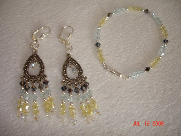 Swarovski crystal bracelet and earing set