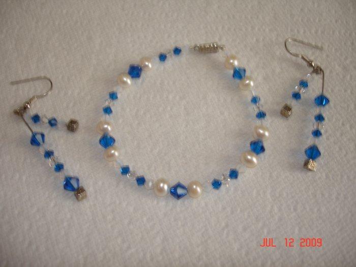Swarovski ocean blue bracelet and earing set