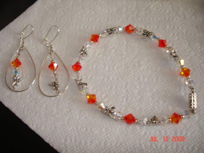 Fiery Swarovski crystal bracelet and earing set