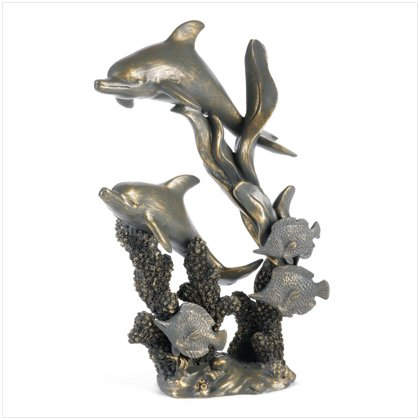 NEW! Antiqued Dolphins Statue
