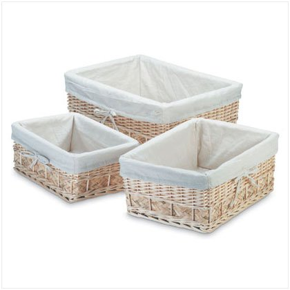 Lined Nesting Willow Baskets Set