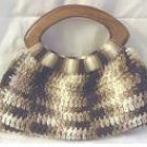 Brown  Bangle-Handled Purse