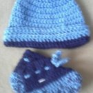 """The Blues"" Hat and Bootie set"