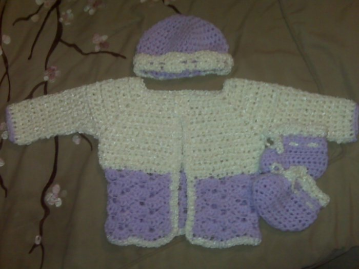 Cream and Pale Purple Baby Sweater Set- Special Order