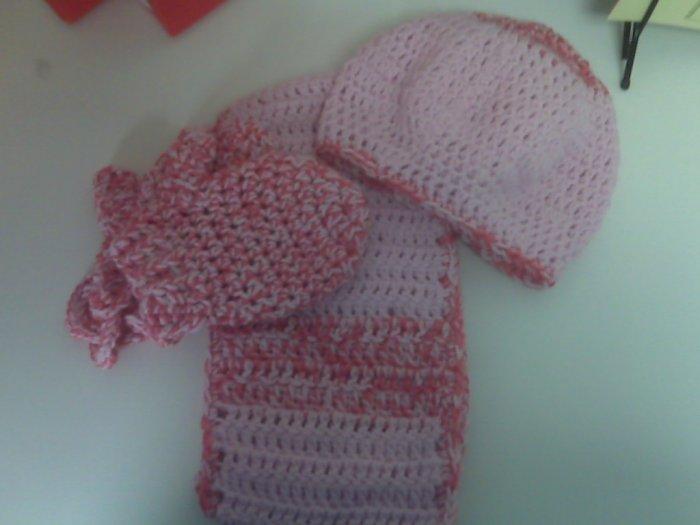 Pink & Pink Multicolor Children's Winter Set