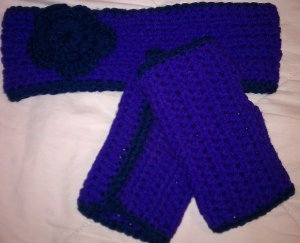 Bright Purple & Deep Navy Earmuff & Wristwarmer Set- Special Order