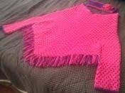 Women's Pink & Purple Fringed Poncho- Special Order