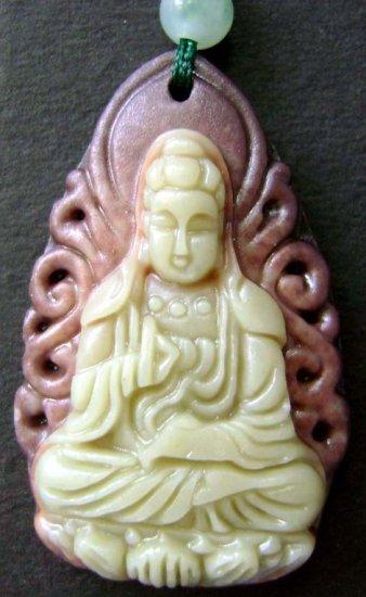 Chinese Zipao Jade Buddhist Kwan-Yin Amulet Pendant