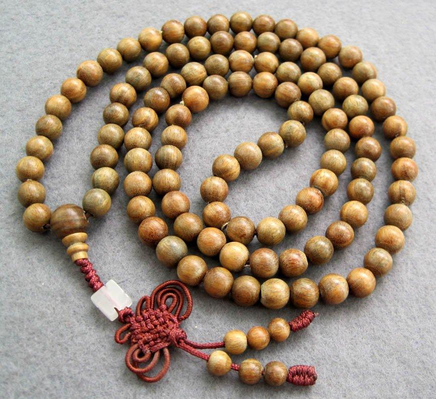 Tibet Buddhist 108 Green Sandalwood Beads Prayer Mala Necklace  8mm  ZZ005