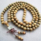 Tibet Buddhist 108 Green Sandalwood Beads Prayer Mala Necklace  8mm  ZZ007