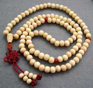 Tibet Buddhist 108 White Sandalwood Beads Prayer Mala Necklace  8mm  ZZ010