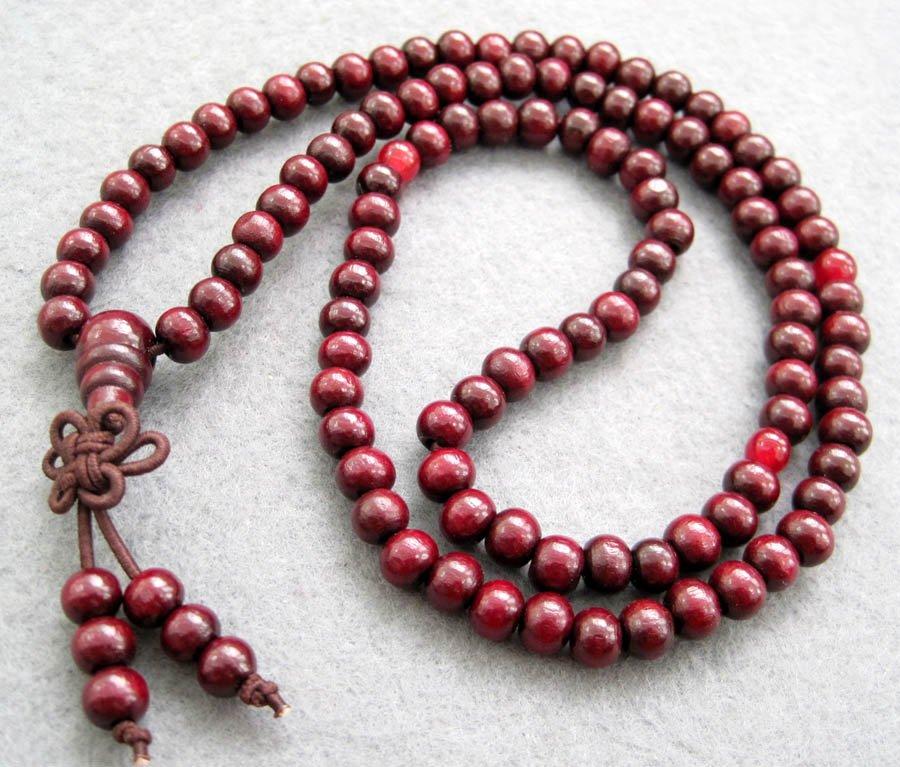 Tibet Buddhist 108 Purple Sanalwood Beads Prayer Mala Necklace  6mm  ZZ012
