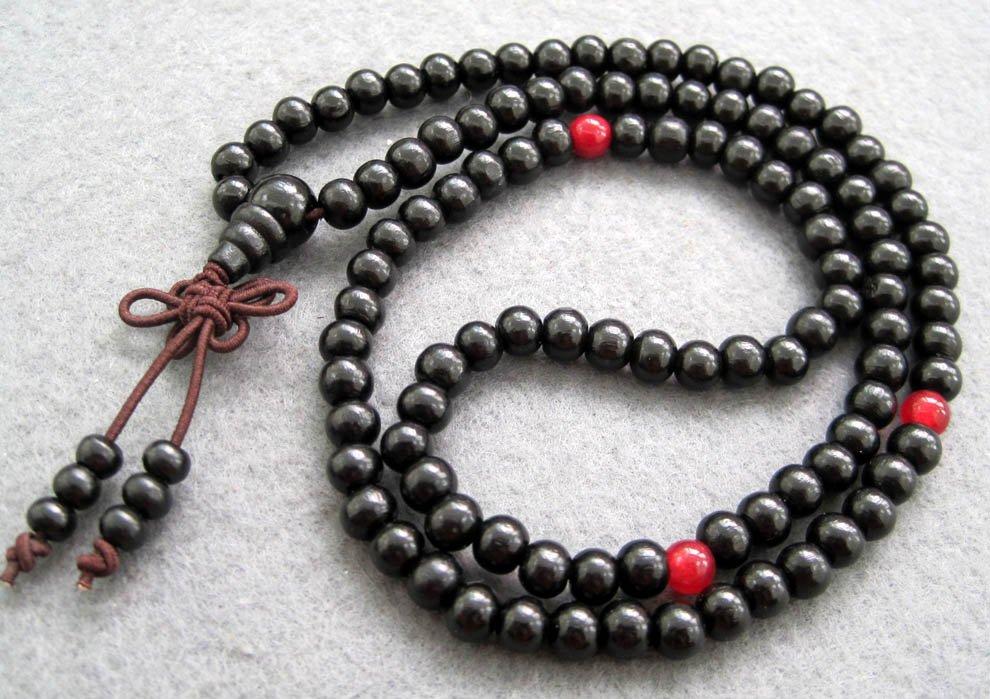 Tibet Buddhist 108 Black Sandalwood Beads Prayer Mala Necklace  6mm  ZZ013