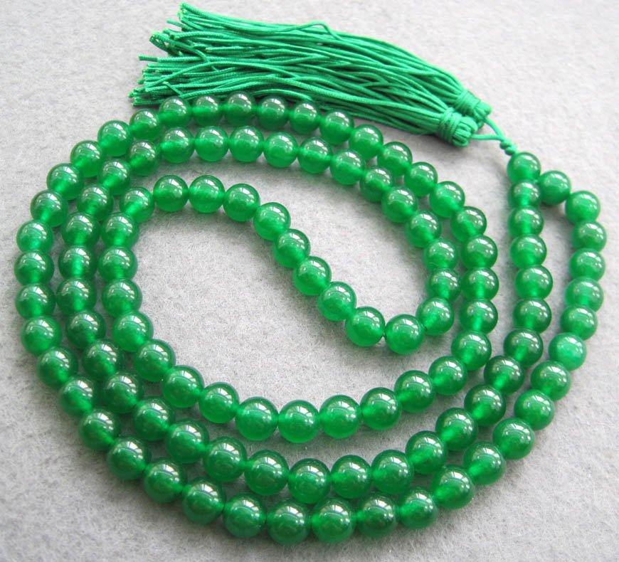 Tibetan Buddhist 108 Jade Beads Prayer Mala Necklace  10mm  ZZ017