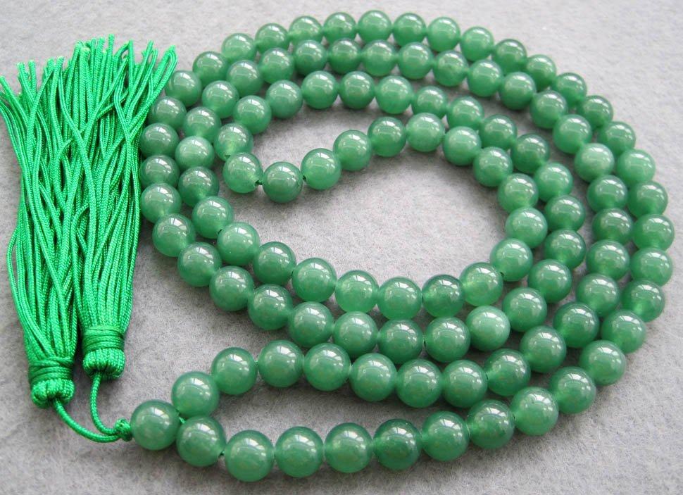 Tibet Buddhist 108 Malay Jade Beads Prayer Mala Necklace  8mm  ZZ019