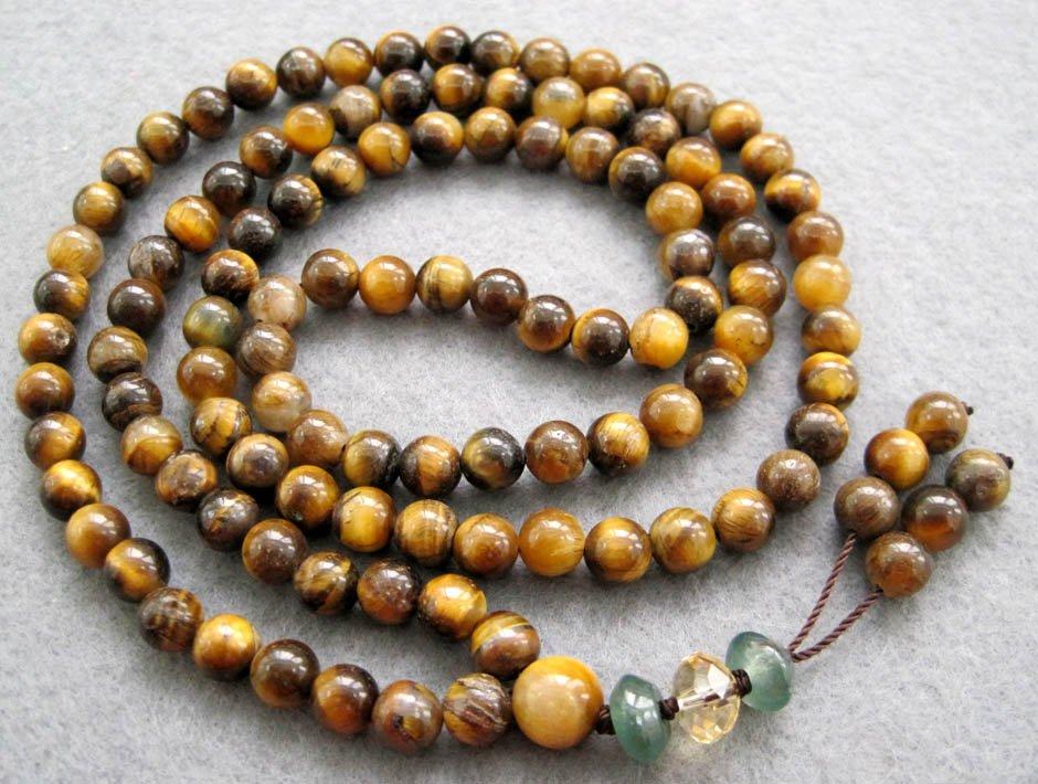Tibet Buddhist 108 Tiger Eye Gem Beads Prayer Mala Necklace  6mm  ZZ022