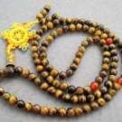 Tibet Buddhist 108 Tiger Eye Gem Beads Prayer Mala Necklace  6mm  ZZ023