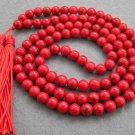 Tibet Buddhist 108 Red Turquoise Gem Beads Prayer Mala Necklace  8mm  ZZ024