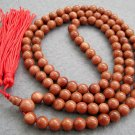 Tibet Buddhist 108 Goldstone Gem Beads Prayer Mala Necklace  8mm  ZZ032