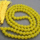 Tibet Buddhist 108 Yellow Jade Beads Prayer Mala Necklace  8mm  ZZ033
