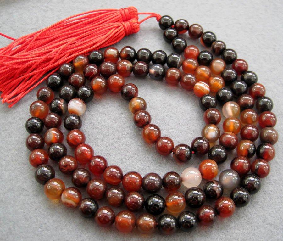 Tibet Buddhist 108 Dream Agate Gem Beads Prayer Mala Necklace  8mm  ZZ035