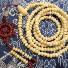 Tibet Buddhist 216 White Sandalwood Beads Prayer Mala Necklace  ZZ038