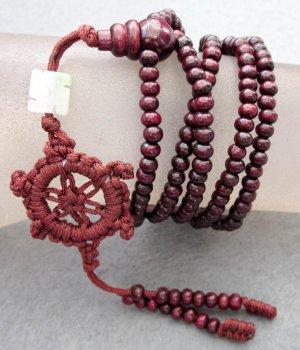 Tibet Buddhist 216 Purple Sandalwood Beads Prayer Mala Necklace  ZZ040