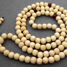 Tibet Buddhist 108 White Sandalwood Beads Prayer Mala Necklace  ZZ041
