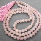 Tibet Buddhist 108 Pink Crystal Quartz Beads Prayer Mala Necklace 8mm  ZZ062