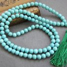 Tibet Buddhist 108 Turquoise Gem Beads Prayer Mala Necklace 8mm  ZZ064