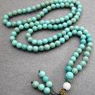 Tibet Buddhist 108 Turquoise Gem Beads Prayer Mala Necklace 6mm  ZZ066