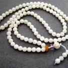 Tibet Buddhist 108 Natural Sea Shell Beads Prayer Mala Necklace 6mm  ZZ067