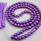 Tibet Buddhist 108 Purple Crystal Quartz Beads Prayer Mala Necklace 8mm  ZZ086