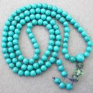 Tibet Buddhist 108 Turquoise Gem Beads Prayer Mala Necklace 6mm  ZZ092